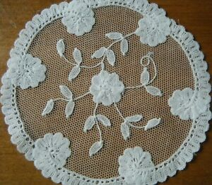 Old Vtg Set 4 Doilies Brussels Princesses Mesh Lace Flowers Hand Made White