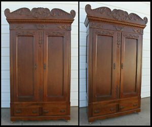 Antique Oak Orig Knock Down 2 Door Wardrobe Armoire Closet Hopper Sioux City Ia