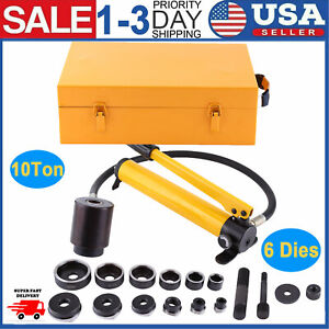 10 Ton Hydraulic Knockout Punch Driver Kit 6 Die 22 To 60mm Hole Punch Tool New
