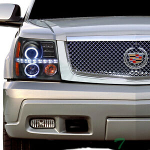 Topline For 2002 2006 Cadillac Escalade Led Halo Projector Headlights Amber blk