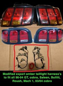 96 04 Mustang Modified Amber Export Taillight Harness Pair Cobra Gt V6 Saleen