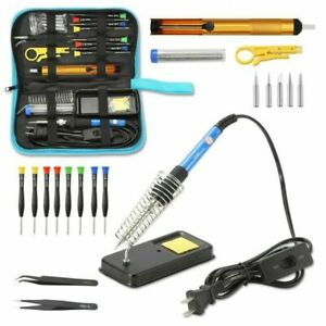 110v 60w Adjustable Electric Temperature Welding Soldering Iron Tool Kit Us