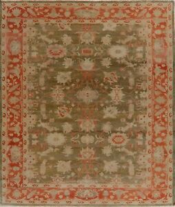 Vegetable Dye Antique Oriental Oushak Turkish Hand Knotted Area Rug 9x10 Carpet