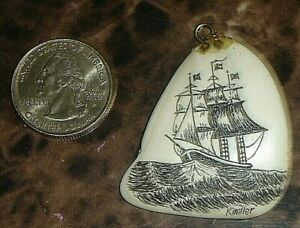 Beautiful Scrimshaw Whaling Ship Shell Pendant Signed K Miller Tooth Whale