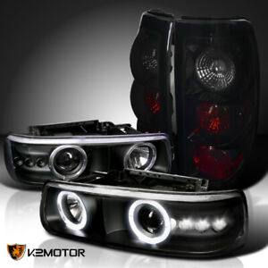 For 99 02 Silverado Black Led Halo Projector Headlights glossy Black Tail Lamps