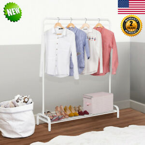 Heavy Duty Garment Rack Clothes Hanger Bar Shoes Storage Shelf Closet Organizer