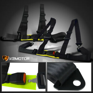 2x Black 4 Point 4pt Safety Racing Harness Heavy Duty Straps