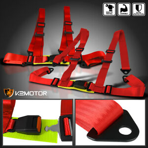 2x Jdm 4 Point Red Racing Harness Snap In Buckle Heavy Duty Nylon Strap