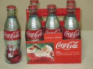 2006 COCA COLA 75TH ANNIVERSARY SUNDBLOM SANTA 6 PACK BOTTLES FULL WRAPPED BOTTL