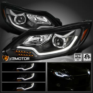 For 2012 2014 Ford Focus Led Sequential Signal Projector Headlights Black Pair