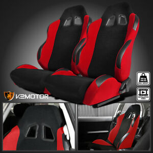 Black red Cloth Pvc Leather Patch Edges Reclinable Sports Racing Seats W sliders