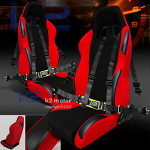 Jdm Black red Sport Racing Seat Reclinable 2pc 4 point Camlock Harness Belt
