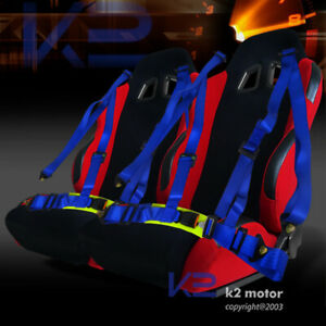 Jdm Black red Sport Racing Seat Reclinable 2pc Blue 4 point Harness Belts