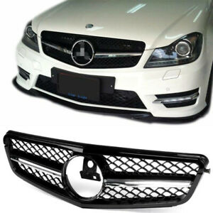 Amg Style Front Grille Chrome Black For Mercedes Benz W204 C200 C250 C300 08 14
