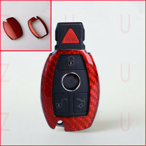 For Mercedes Benz All Class Red Carbon Fiber Remote Smart Key Case Holder Cover
