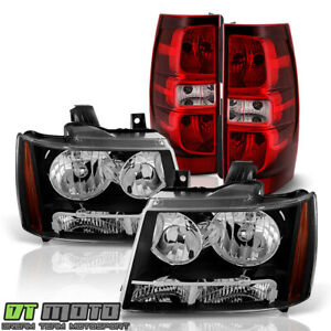 2007 2014 Chevy Suburban 1500 Tahoe Black Headlights red Tail Lights Brake Lamps