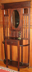 Antique Victorian Mahogany Wooden Hall Tree Stand With Mirror Umbrella Rests