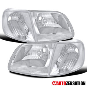For 1997 2003 Ford F150 Expedition Clear Lens Headlights W Corner Signal Lamps
