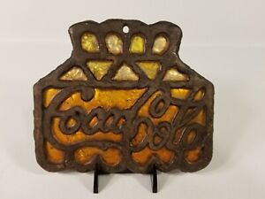 Vintage Coca Cola Sign Cast Iron Stained Glass Wall Hanger Sun Catcher Trivet