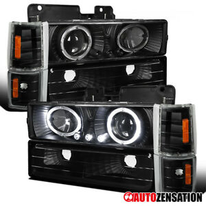 For 94 98 Gmc C k C10 Sierra Black Halo Projector Headlights corner Bumper Lamps