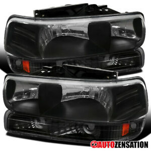 For 1999 2002 Silverado 2000 2006 Tahoe Suburban Black Headlights bumper Lamps