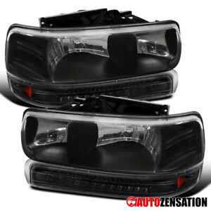 For 1999 2002 Silverado 2000 2006 Tahoe Suburban Black Headlight Led Bumper Lamp