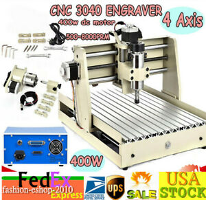 Cnc 3040 Router Engraving Machine 4 Axis Carving Wood Desktop Low Profile 400w