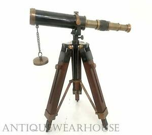 Collectible Antique Nautical Spyglass 10 Brass Telescope W Wood Tripod Stand