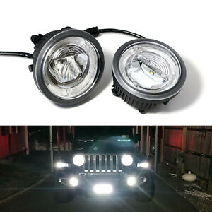 White 2 in 1 Cree Led Halo Drl Fog Driving Light Kit For 18 up Jeep Wrangler Jl