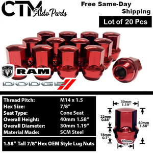 20 Dodge Ram Oem Factory Red 14x1 5 Wheel Lug Nut Conical Seat Fit Dodge Ram