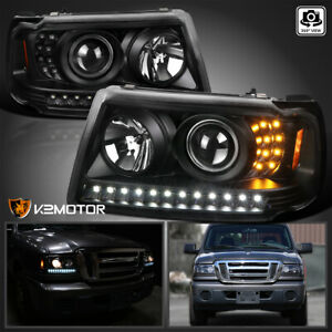 For Black 2001 2011 Ford Ranger Led Drl Projector Headlights Led Signal Corner