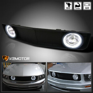 For 2005 2009 Ford Mustang V6 Black Front Hood Grill Grille W Clear Fog Lights