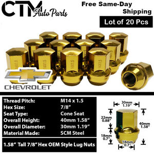 20pc Chevrolet Oem Factory Gold 14x1 5 Wheel Lug Nuts Conical Seat For Chevy