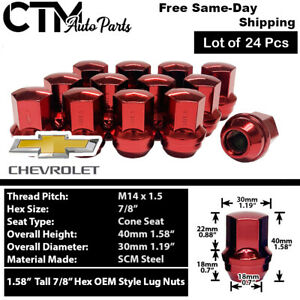 24pc Chevrolet Oem Factory Red 14x1 5 Wheel Lug Nuts Conical Seat For Chevy