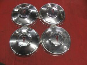 Set Of 4 Pontiac Dog Dish Poverty Derby Hub Caps Lemans T 37 Gto 72 73 74 A Body