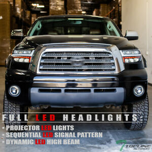 Topline For 07 13 Tundra Sequoia Full Led Sequential Projector Headlights Black