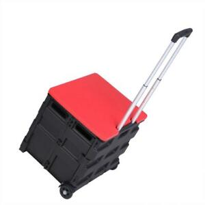 Folding Trolley Rolling Shopping Cart Collapsible Basket 2 wheel Basket W Lid