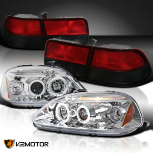 For 96 98 Civic Coupe Chrome Halo Led Projector Headlights Red Smoke Tail Lamps