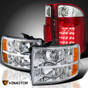 07 14 Chevy Silverado 1500 2500 3500 Chrome Headlights red Led Tail Brake Lamps