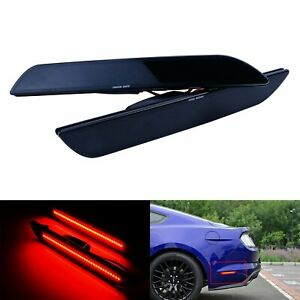Led Rear Bumper Reflector Side Marker Light Smoked Black Lens For Ford Mustang