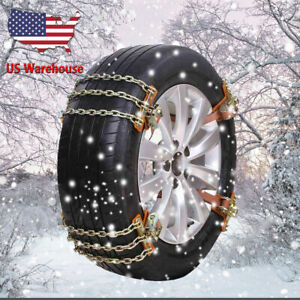 8pc L 3 Chains Tire Snow Wheel Steel Anti skid Chain For Snow Ice Sand Mud Road