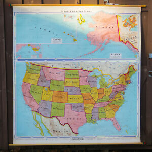Denoyer Gepper 10806 Political United States Roll Up Wall Map 64 Wide 1221
