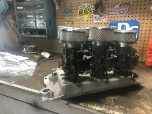 Aluminum Offenhauser 6 12 Pack Intake Sbc Ford Holley Carbs New Custom Linkage