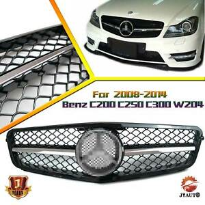 Amg Style Front Grille W Emblem For Mercedes Benz W204 C200 C250 C300 2008 2014