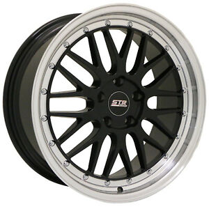 Str 601 Mesh Style Wheels 18x8 5x114 3 Set Of 4 Black Face W Machine Lip