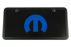 Black Mopar License Plate Vanity Tag Frame Blue Engraved M Usa Made