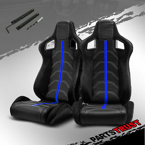 2 Universal Black Pvc Main Blue Line Left right Racing Bucket Seats Slider Pair