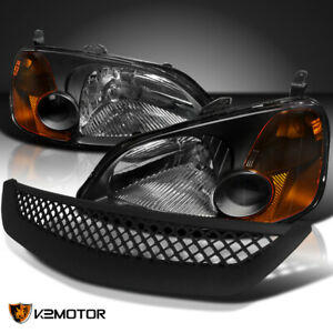 For 2001 2003 Honda Civic 2 4dr Coupe Sedan Black Headlights t r Mesh Grille