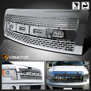 For 2009 2014 Ford F150 Chrome Raptor Style Mesh Bumper Hood Grille W Shell
