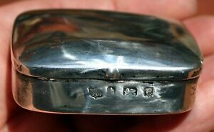 Old Antique English Hallmark Sterling Silver Hinged Snuff Box With Match Striker